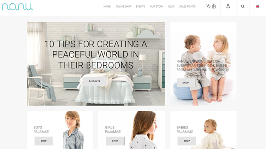 Nanu Bedtime ecommerce Website Homepage Screenshot link to http://nanubedtime.com