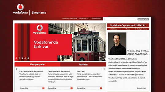 Vodafone Shop Homepage Screenshot link to http://www.dortkaniletisim.com/