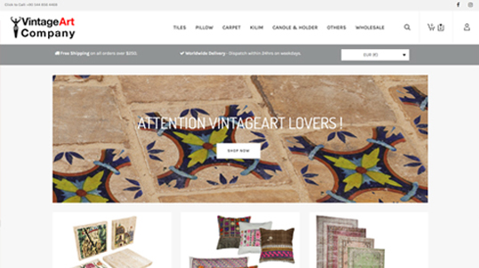 Vintage Art Company Website Homepage Screenshot link to http://www.vintageartcompany.com